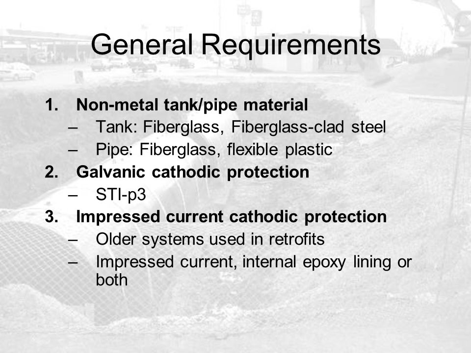General Requirements Non-metal tank/pipe material