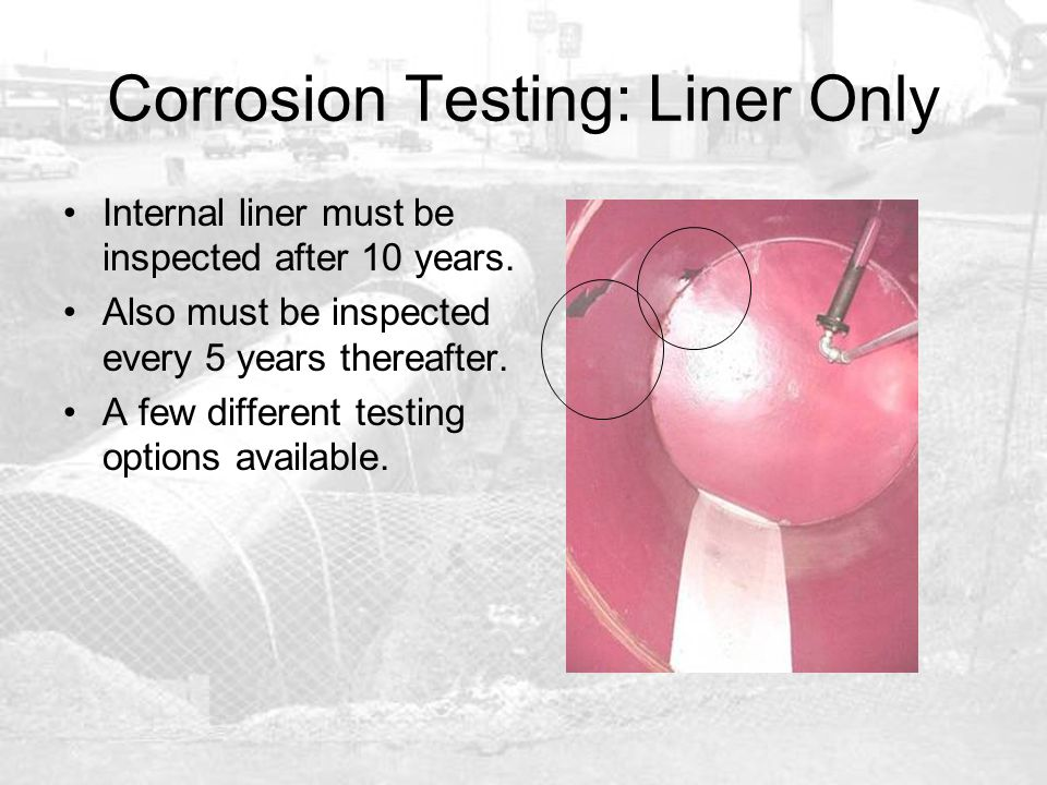 Corrosion Testing: Liner Only