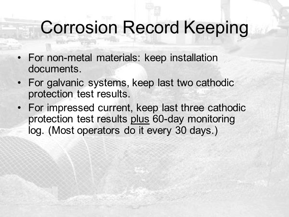 Corrosion Record Keeping