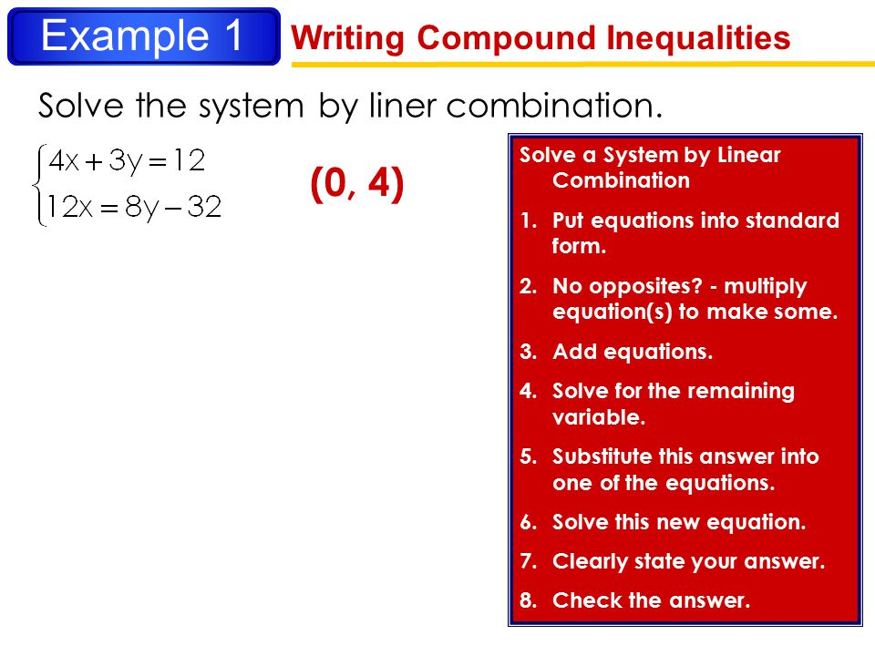Example 1 (0, 4) Writing Compound Inequalities