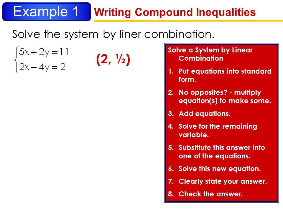 Example 1 (2, ½) Writing Compound Inequalities