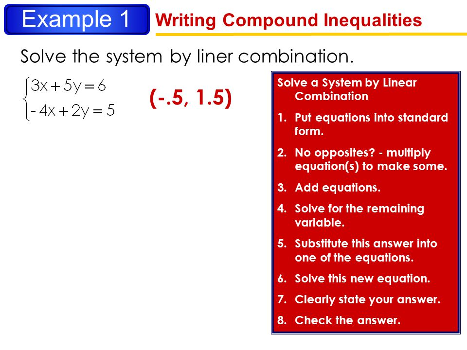 Example 1 (-.5, 1.5) Writing Compound Inequalities