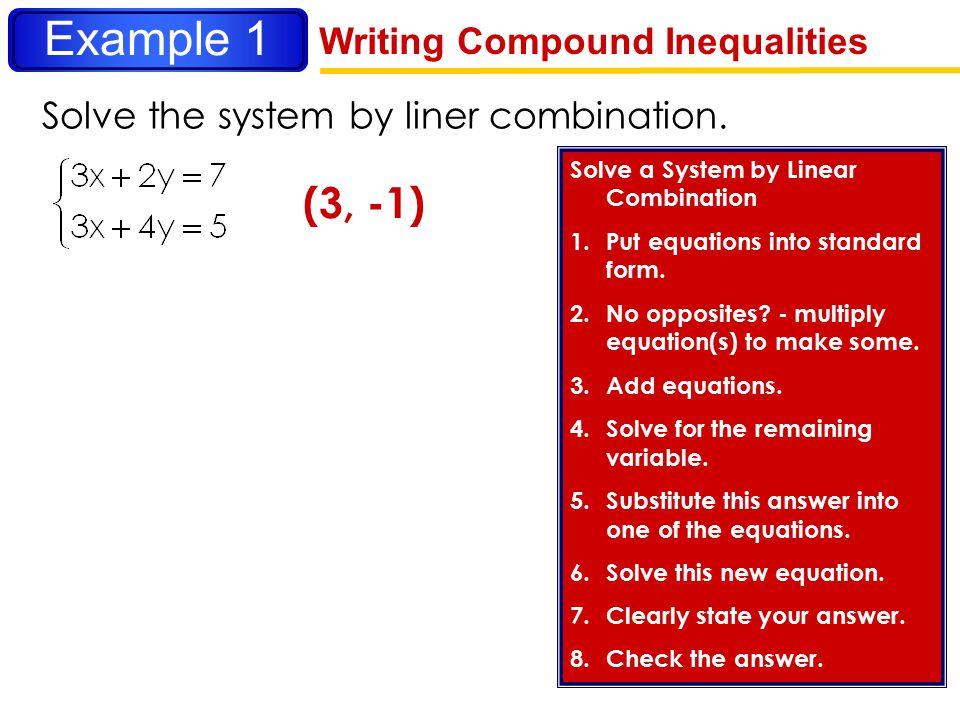 Example 1 (3, -1) Writing Compound Inequalities