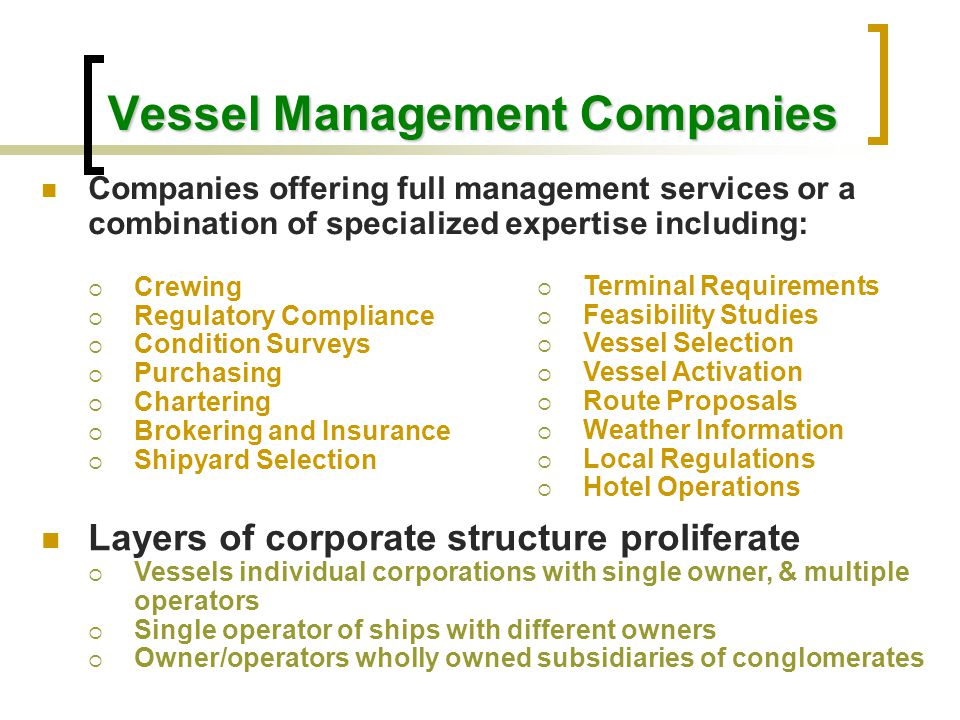 Vessel Management Companies