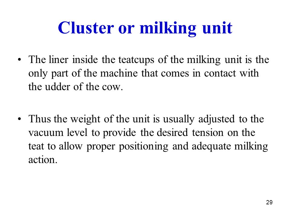 Cluster or milking unit