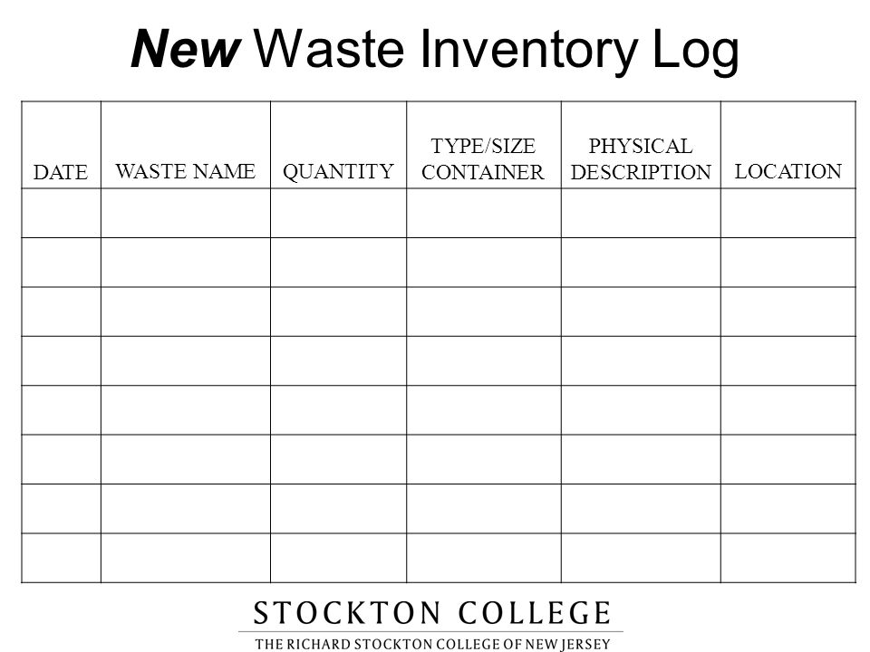 New Waste Inventory Log