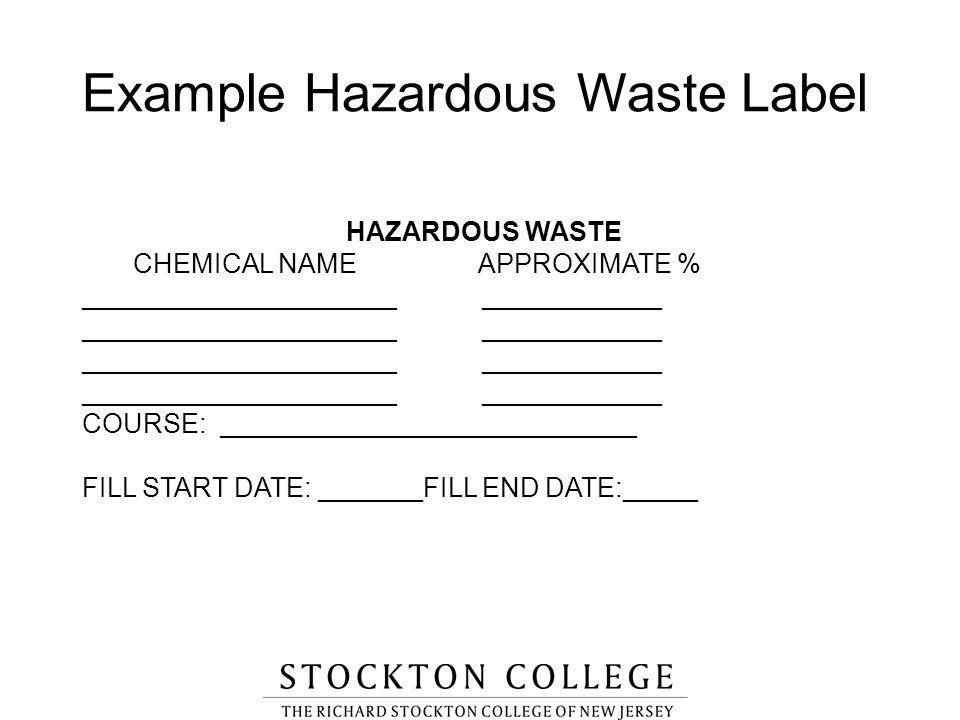 Example Hazardous Waste Label