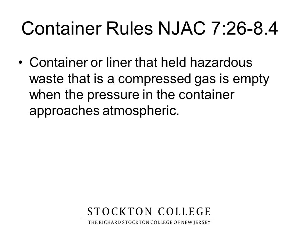 Container Rules NJAC 7:26-8.4