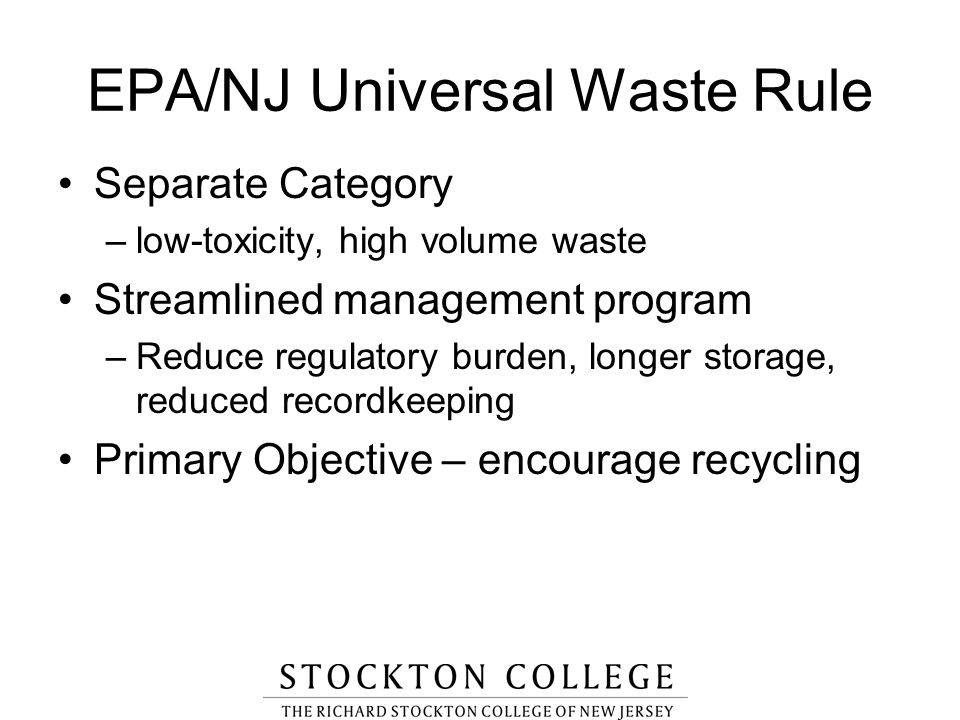 EPA/NJ Universal Waste Rule