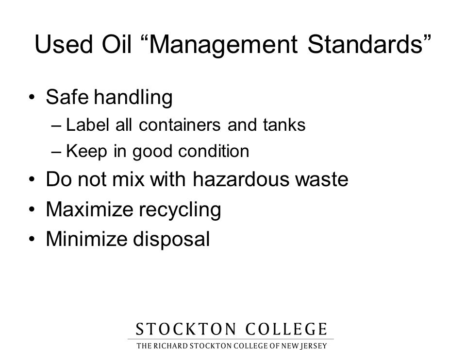 Used Oil Management Standards