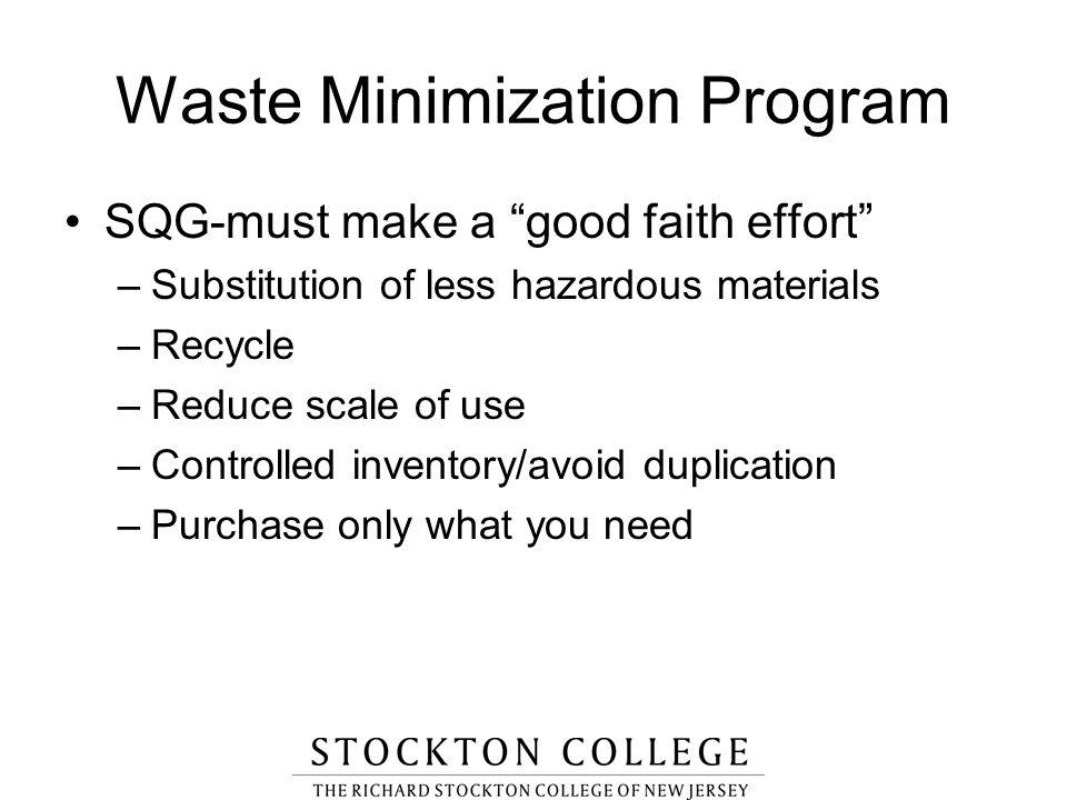 Waste Minimization Program