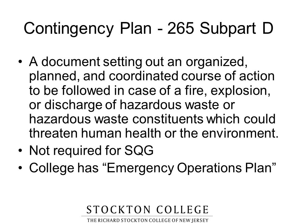 Contingency Plan - 265 Subpart D