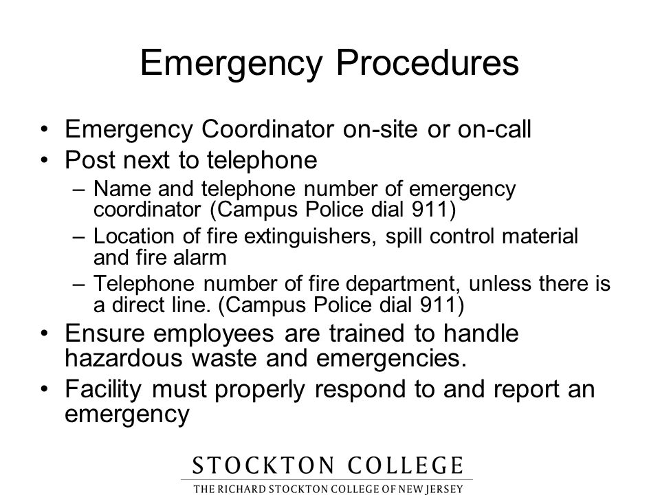 Emergency Procedures Emergency Coordinator on-site or on-call