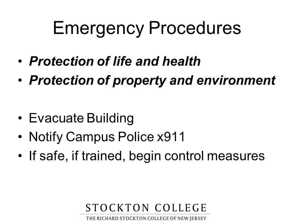 Emergency Procedures Protection of life and health