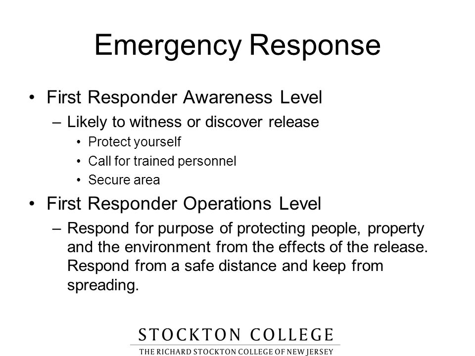 Emergency Response First Responder Awareness Level