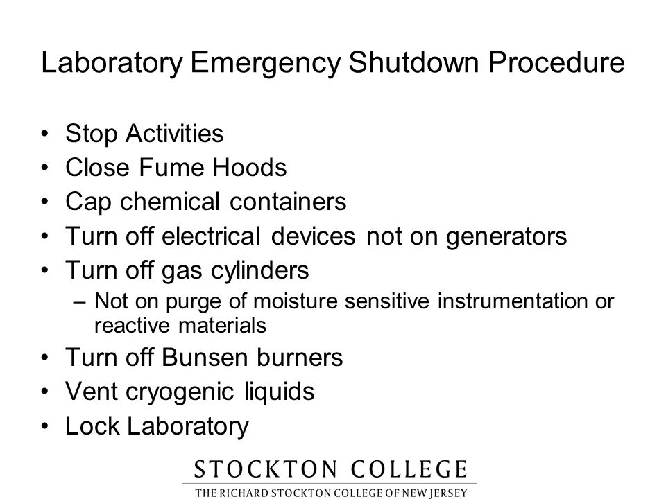 Laboratory Emergency Shutdown Procedure