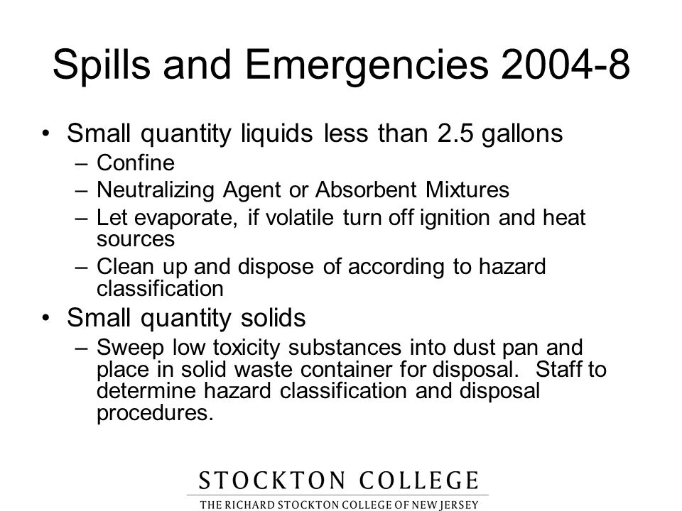 Spills and Emergencies 2004-8