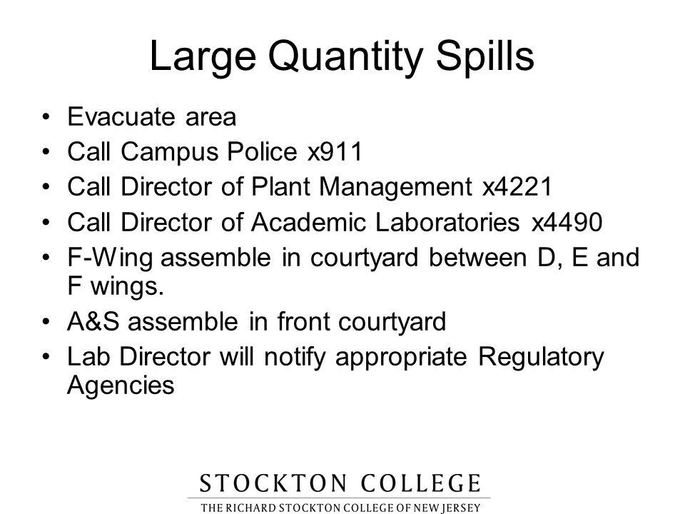 Large Quantity Spills Evacuate area Call Campus Police x911