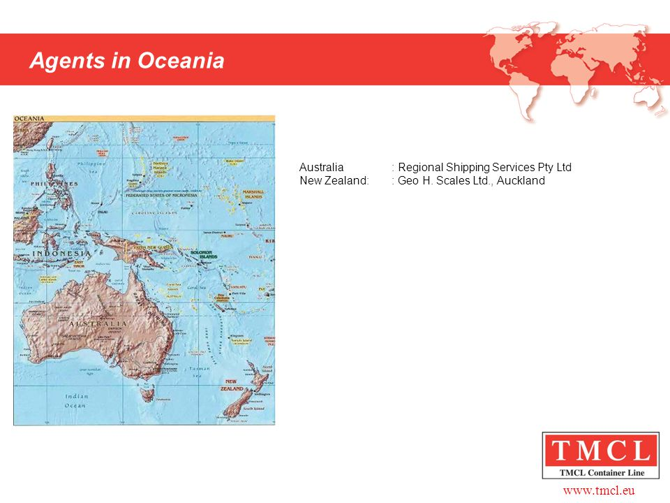 Agents in Oceania Australia : Regional Shipping Services Pty Ltd New Zealand: : Geo H. Scales Ltd., Auckland.