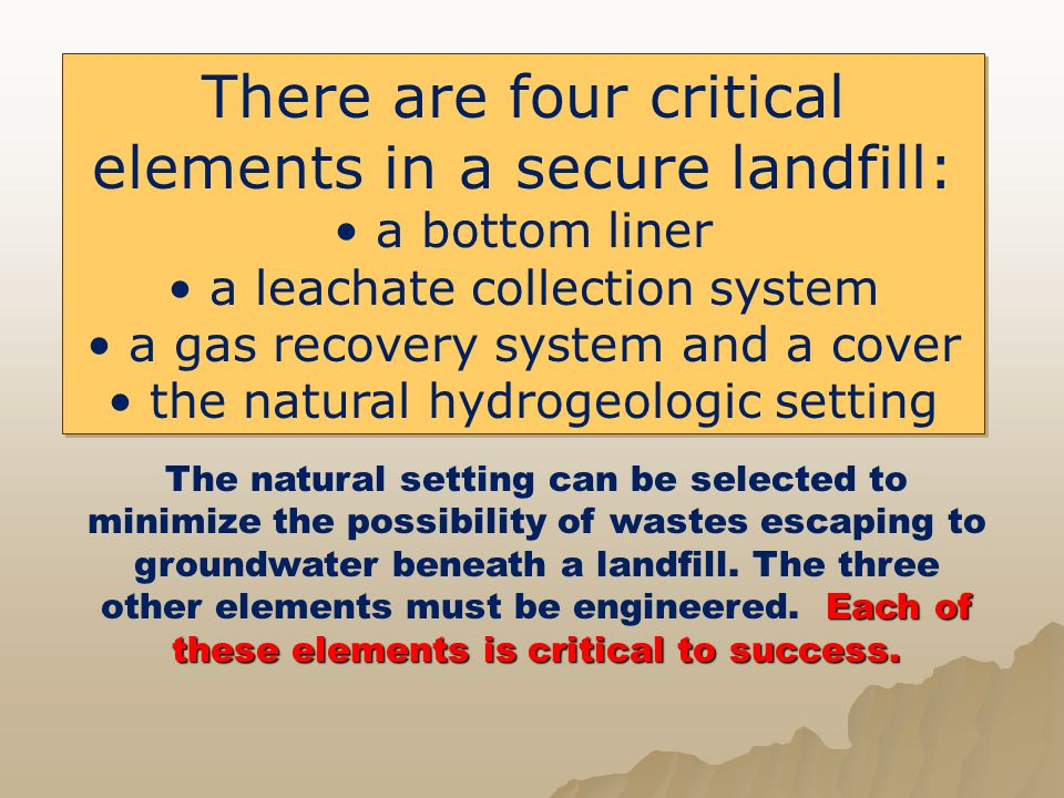 There are four critical elements in a secure landfill: