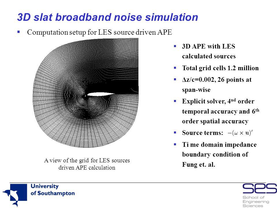 3D slat broadband noise simulation