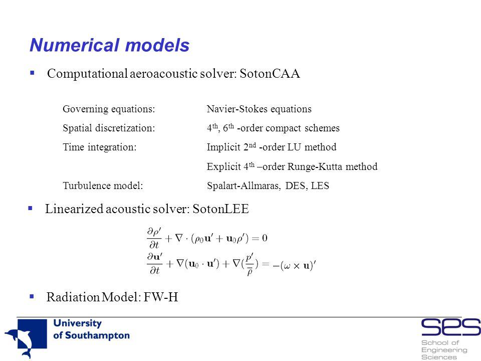 Numerical models Computational aeroacoustic solver: SotonCAA