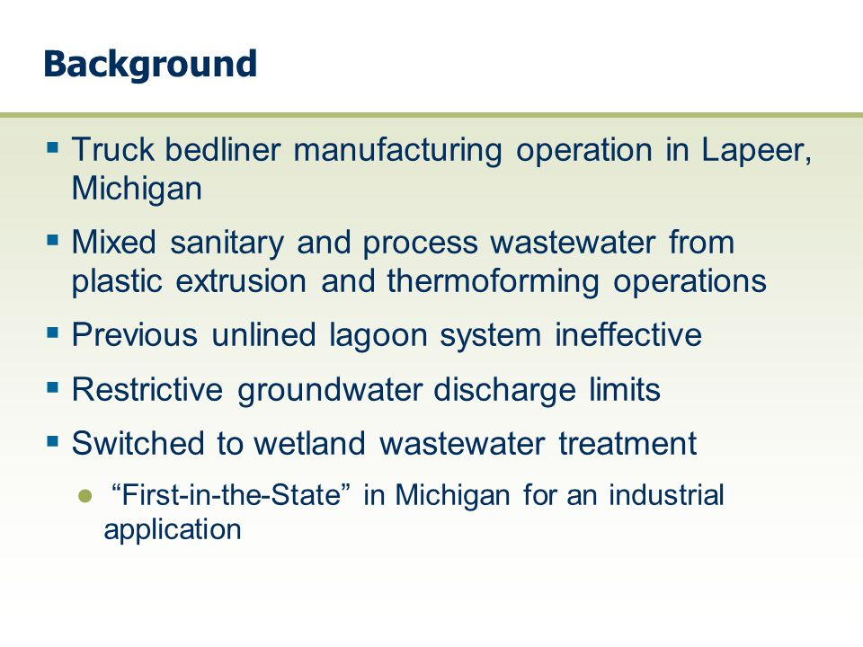 Background Truck bedliner manufacturing operation in Lapeer, Michigan
