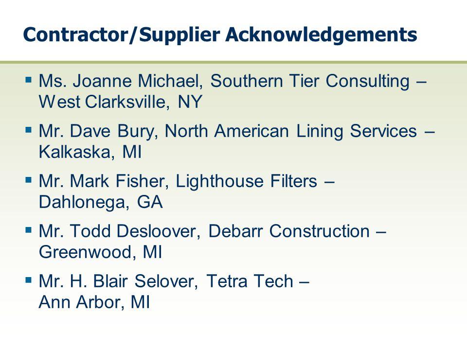 Contractor/Supplier Acknowledgements