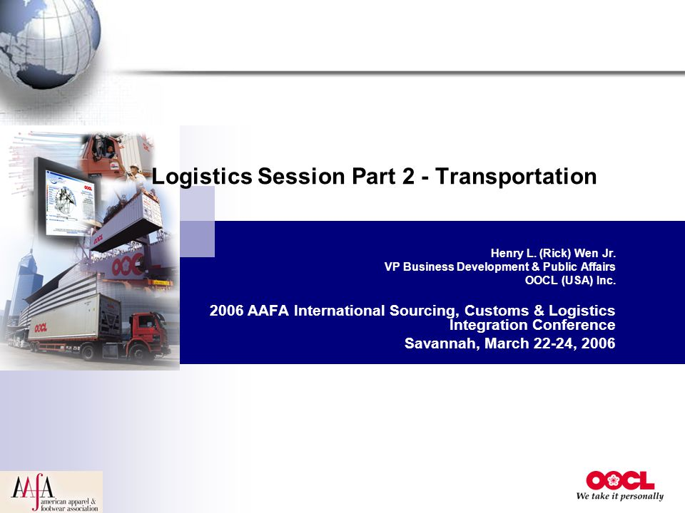 Logistics Session Part 2 - Transportation