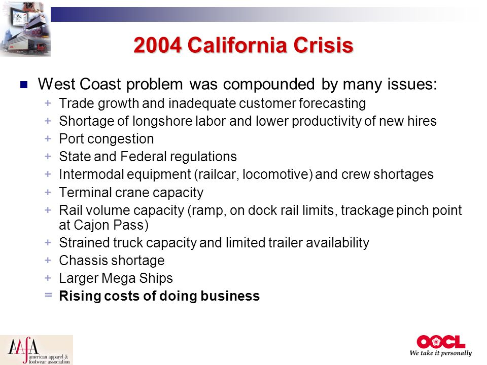 2004 California Crisis West Coast problem was compounded by many issues: Trade growth and inadequate customer forecasting.