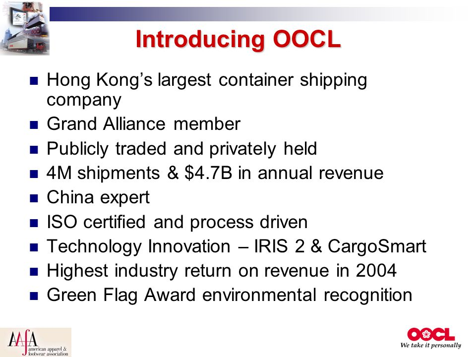Introducing OOCL Hong Kong's largest container shipping company