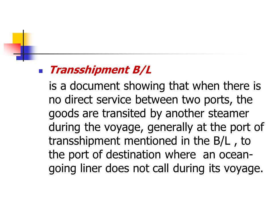 Transshipment B/L