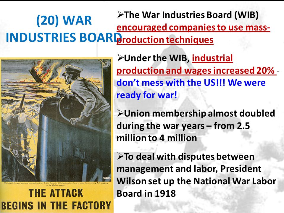 (20) WAR INDUSTRIES BOARD
