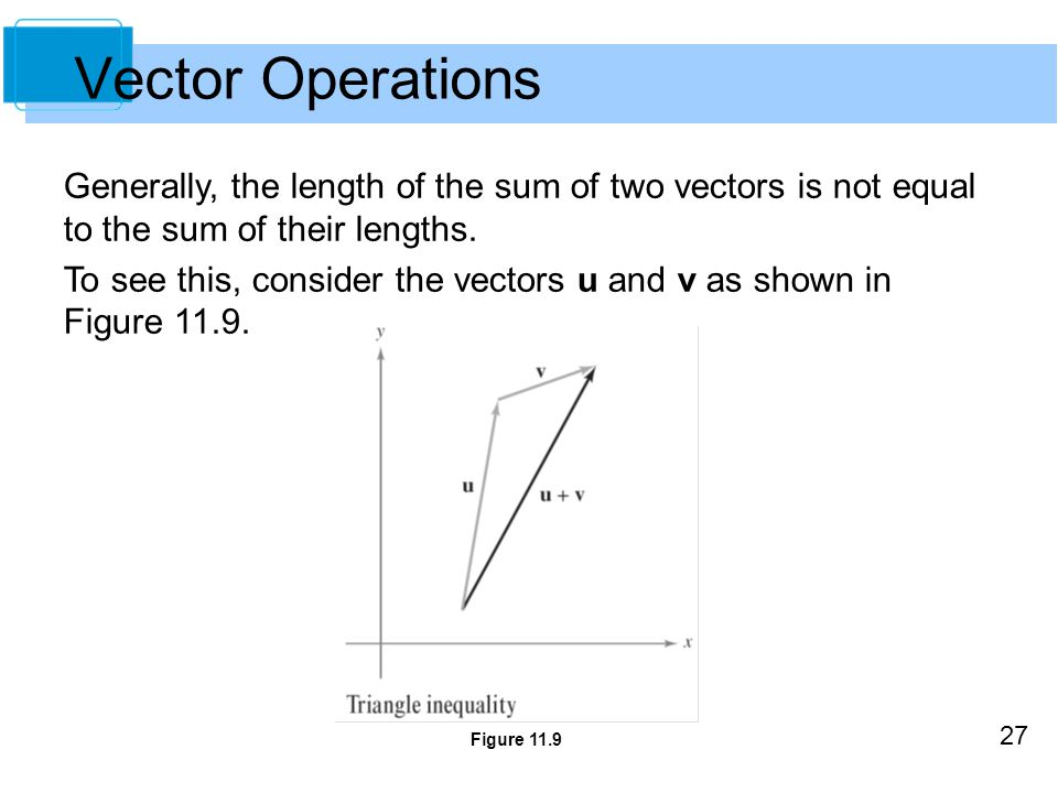 Vector Operations Generally, the length of the sum of two vectors is not equal to the sum of their lengths.