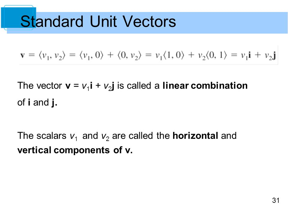 Standard Unit Vectors The vector v = v1i + v2j is called a linear combination. of i and j.