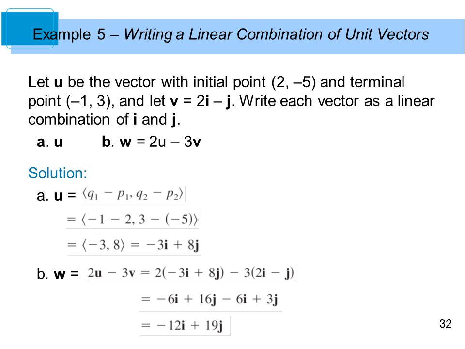Example 5 – Writing a Linear Combination of Unit Vectors