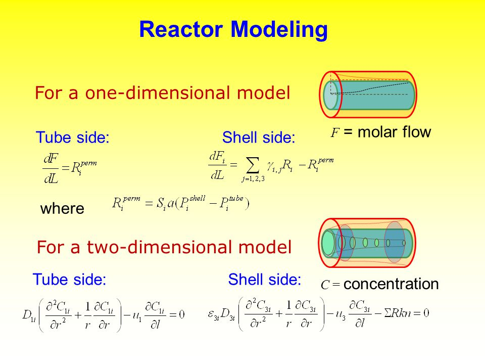 Reactor Modeling For a one-dimensional model