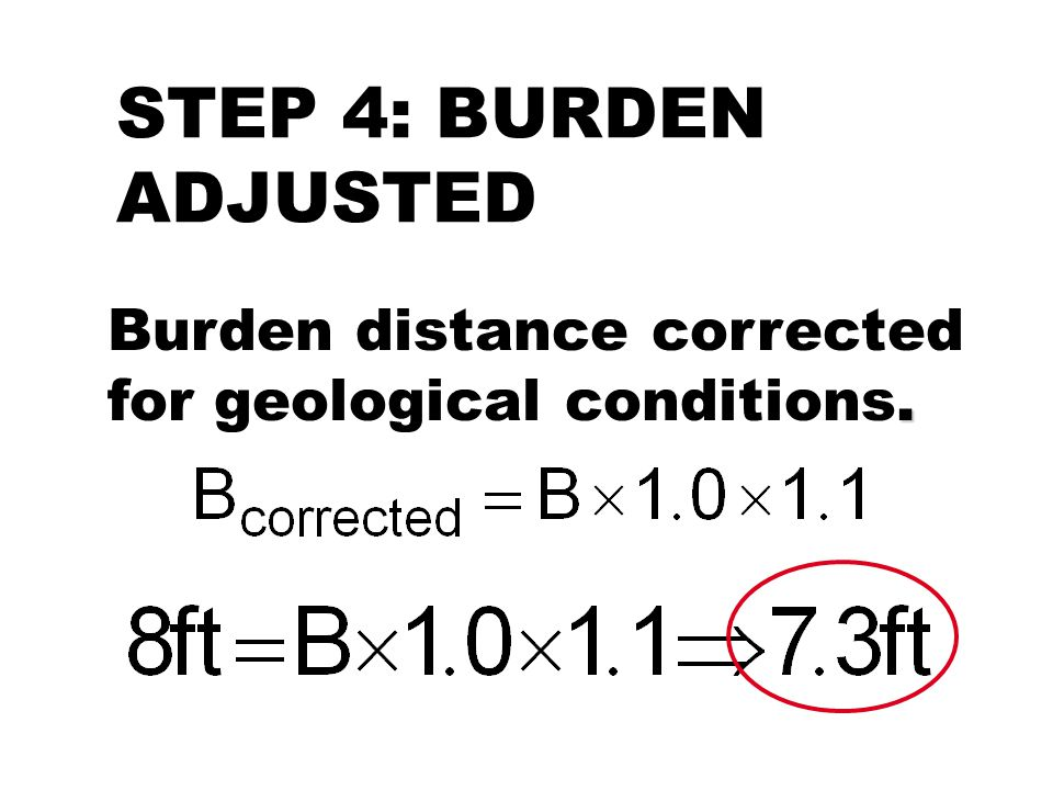 STEP 4: BURDEN ADJUSTED Burden distance corrected for geological conditions.