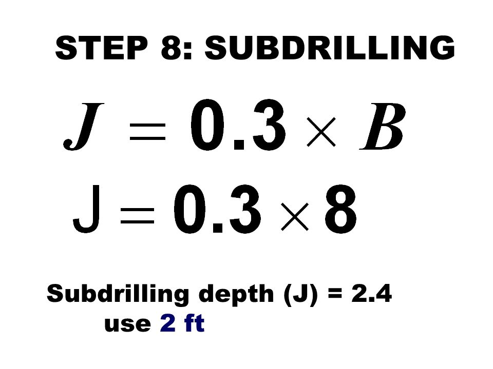 STEP 8: SUBDRILLING Subdrilling depth (J) = 2.4 use 2 ft