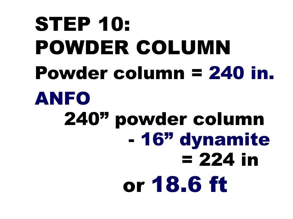 STEP 10: POWDER COLUMN Powder column = 240 in. ANFO - 16 dynamite