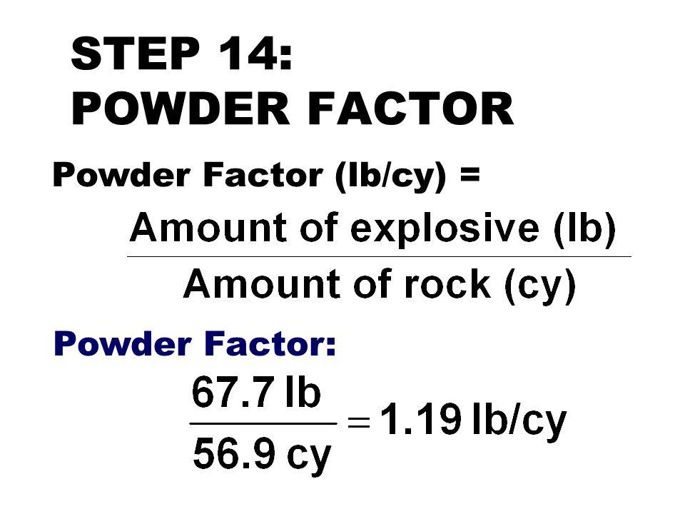 STEP 14: POWDER FACTOR Powder Factor (lb/cy) = Powder Factor: