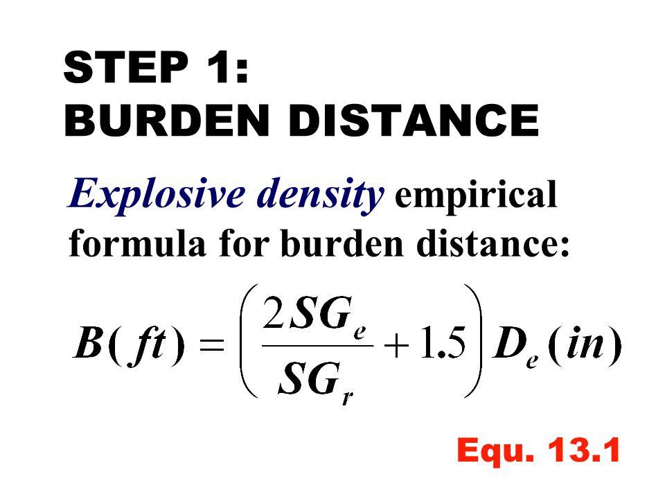 Explosive density empirical formula for burden distance: