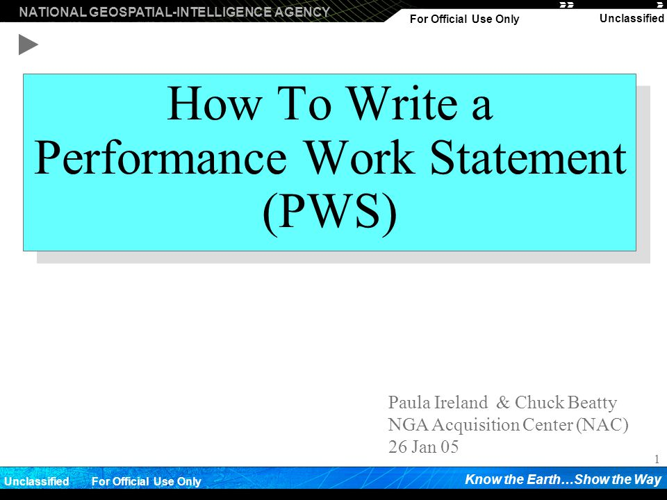 How To Write a Performance Work Statement (PWS)