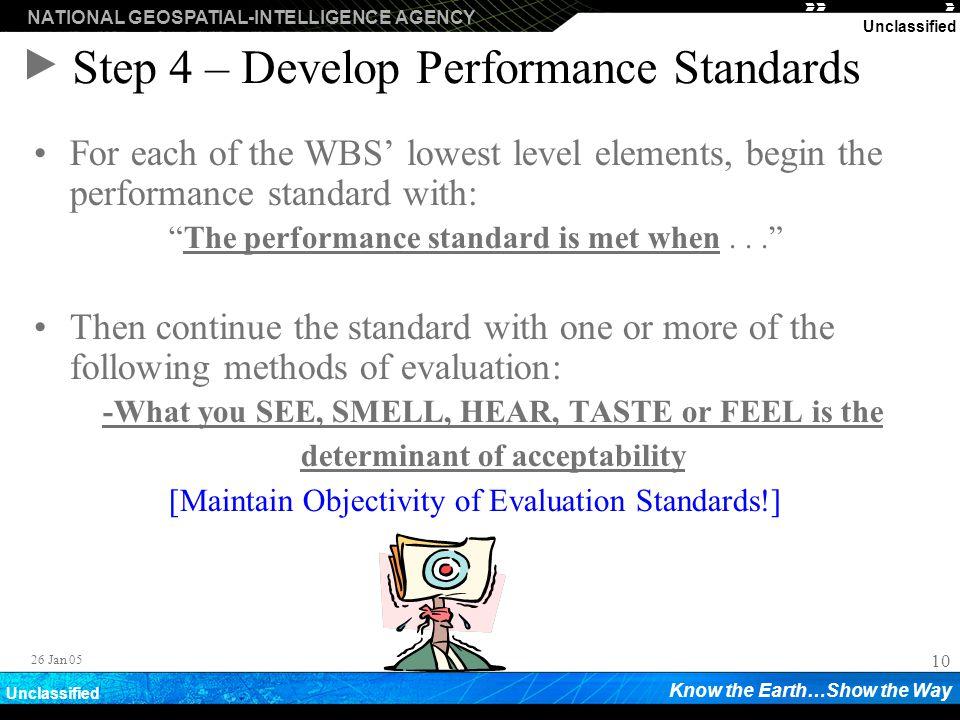 Step 4 – Develop Performance Standards