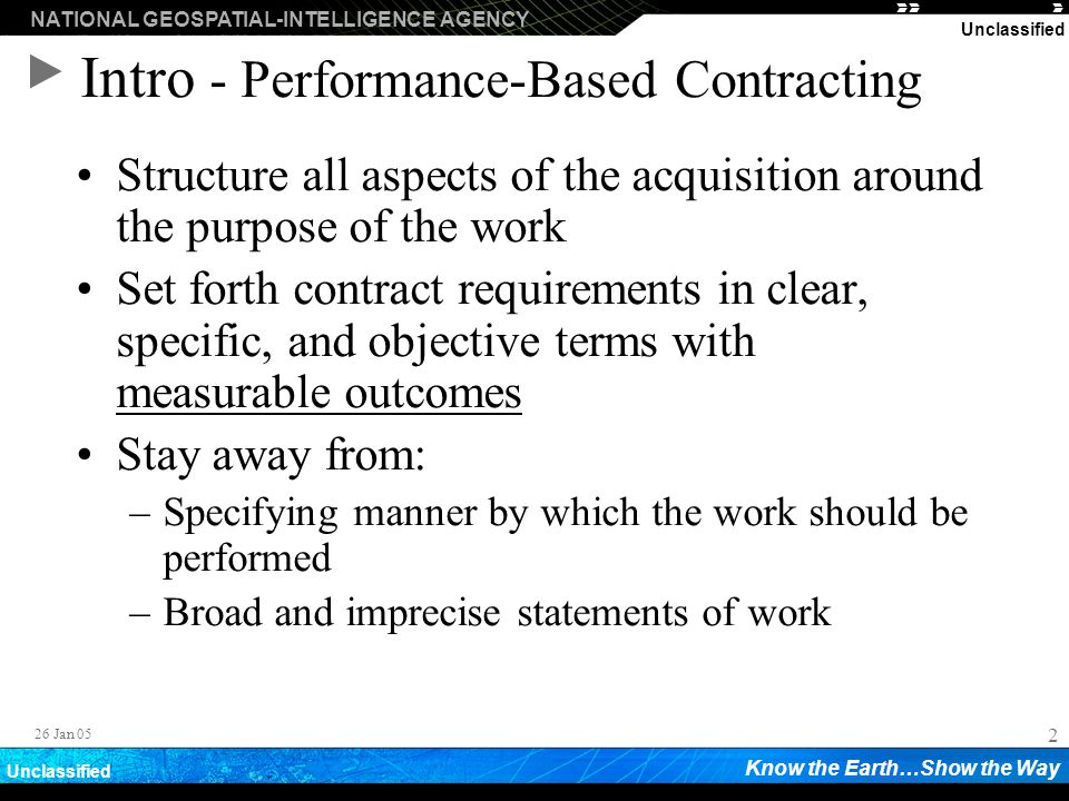 Intro - Performance-Based Contracting
