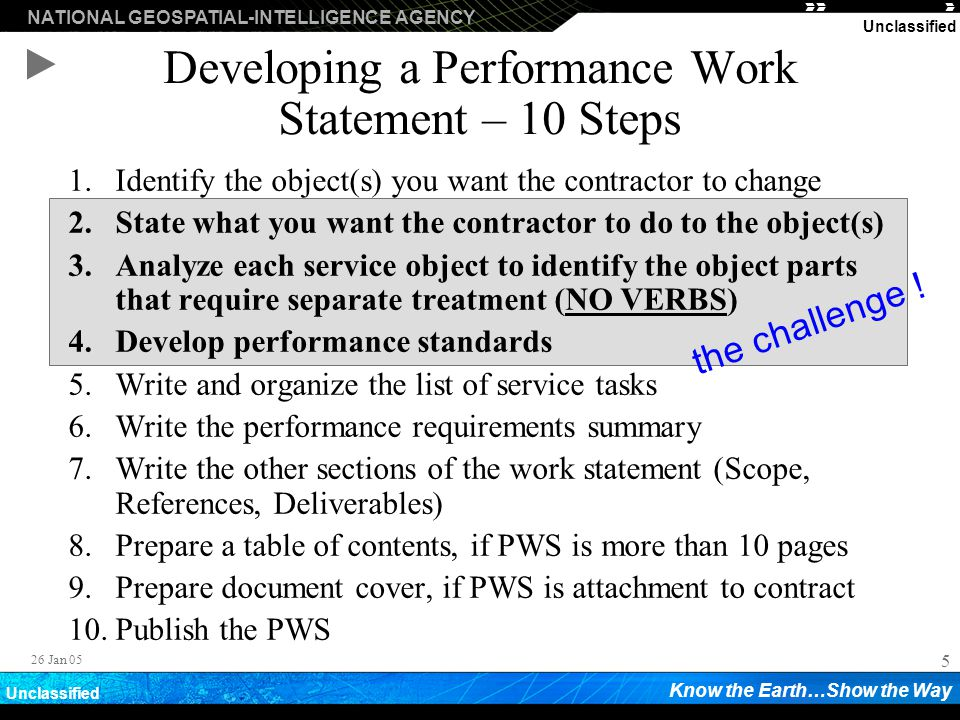 Developing a Performance Work Statement – 10 Steps