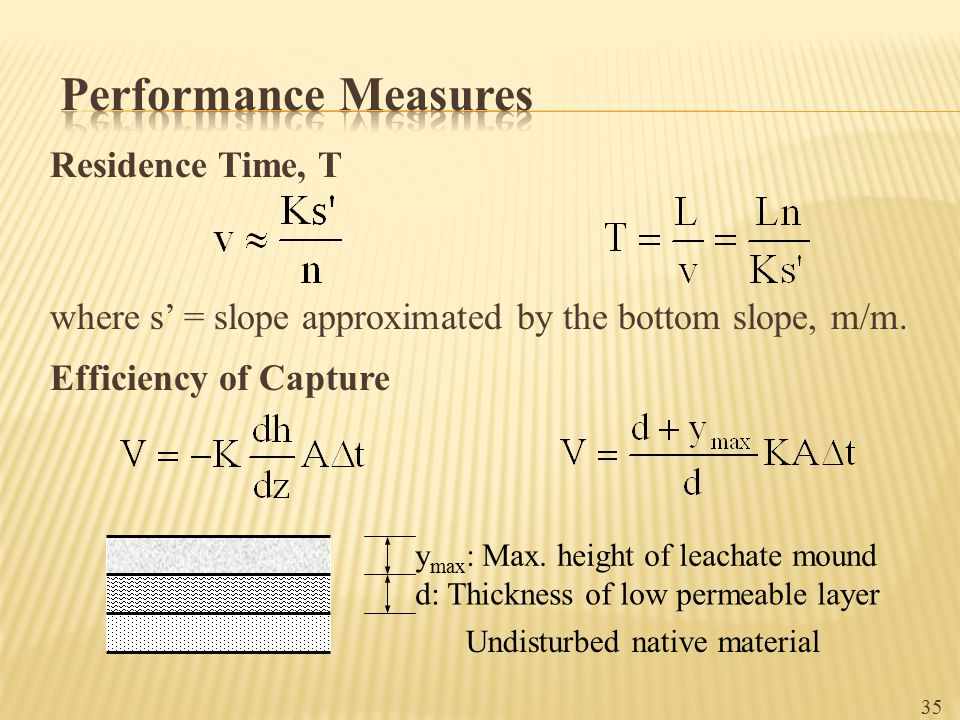 Performance Measures Residence Time, T