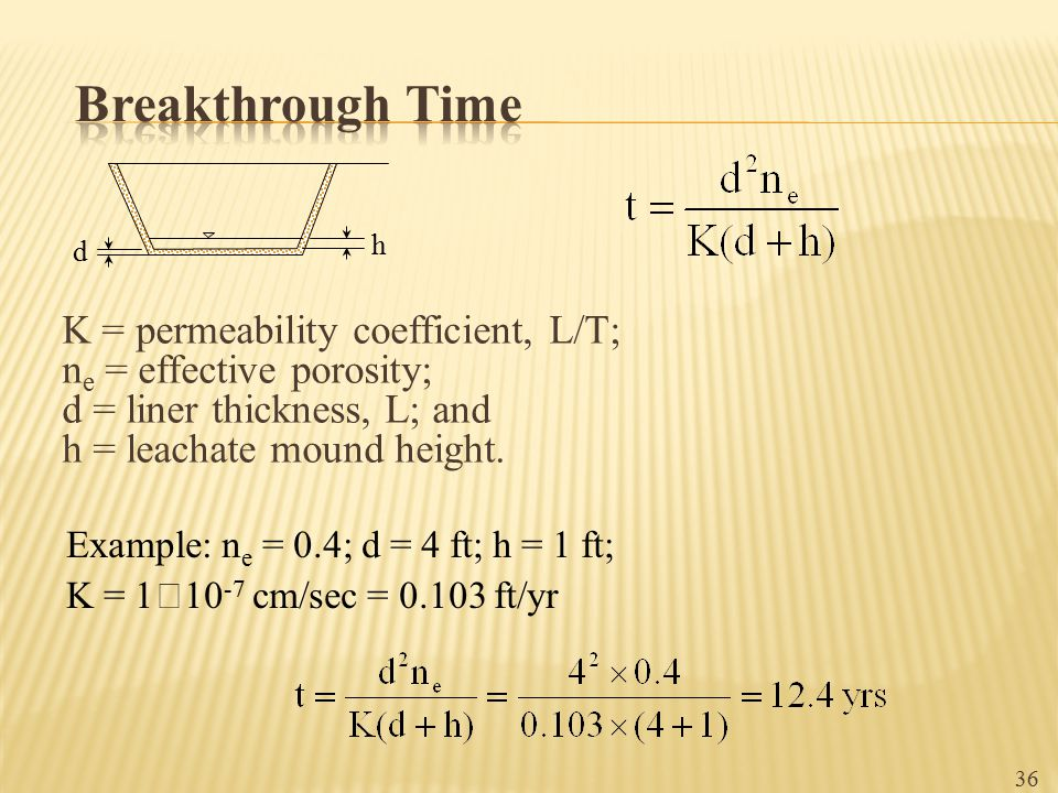 Breakthrough Time K = permeability coefficient, L/T;