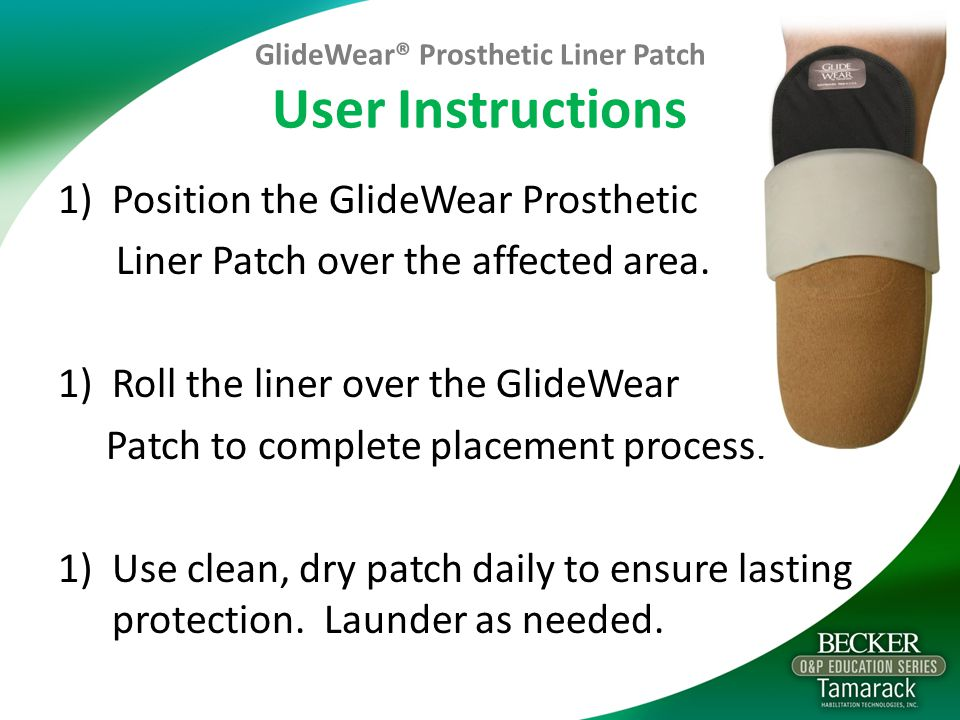 GlideWear® Prosthetic Liner Patch User Instructions
