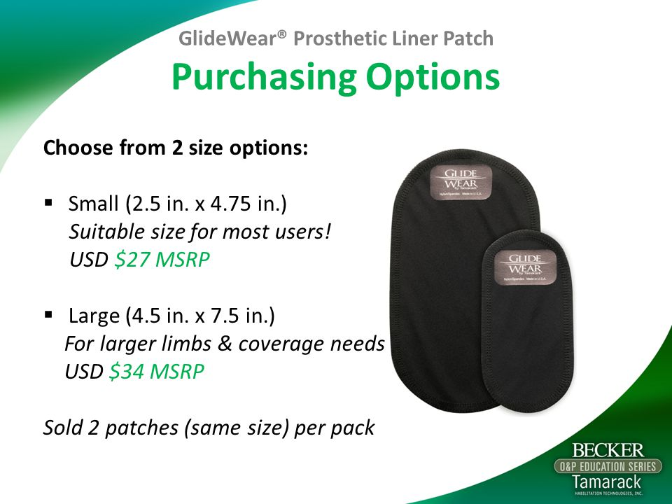 GlideWear® Prosthetic Liner Patch Purchasing Options